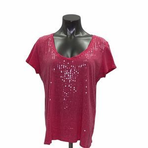 New York & Company Red Sequined T-Shirt Size XL